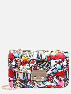 Shop Multicolor Graffiti Print Pushlock Flap Bag online. SheIn offers Multicolor Graffiti Print Pushlock Flap Bag & more to fit your fashionable needs.