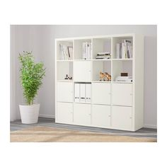 IKEA - KALLAX, Shelf unit with 8 inserts, white, Two people are needed to assemble this furniture. Ikea Kallax Shelf Unit, Bookshelves Ikea, Ikea Shelving Unit, Kallax Insert, Ikea Kallax Regal, Shelves In Bedroom, Shelf Design, Plank, Room Decor