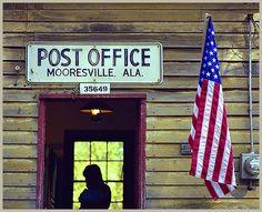 Still in operation, Mooresville, AL Post Office looks rustic with aged clapboard but it still serves the community and area businesses