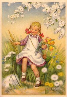 AK, CHARLOTTE BARON, Retro Images, Vintage Pictures, Vintage Images, French Vintage, Vintage Greeting Cards, Vintage Postcards, Vintage Illustration, Postcard Art, Vintage Easter