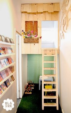 Indoor Playhouse. Cute little loft. Great use of space