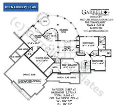 Tranquility House Plan 04159, Basement Floor Plan, Mountain Style House Plans, Craftsman Style House Plans