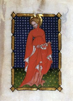 Santa-Dorotea wearing a pellanda ~ ca.1390 ~ Italy ~ The Pellanda was the over dress very common in Europe in the  fourteenth century. Originally from France (Houppelande), it was large and knee-length, or even to the feet, with wide sleeves lined with wild or domestic fur. It was lined with a woolen cloth, velvet or silk.