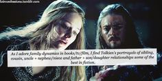 lotrconfessions:  As I adore family dynamics in books/tv/film, I find Tolkien's portrayals of sibling, cousin, uncle + nephew/niece and father + son/daughter relationships some of the best in fiction, and that includes the bad relationships (I'm looking at you, Denethor) as well as the good/devoted ones the majority share. I am also looking forward to seeing how Peter Jackson chooses to portray Legolas and Thranduil's relationship on screen.