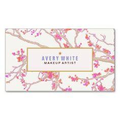 Pink Budding Flowers Makeup Artist Business Card