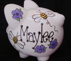 Personalized Bumble Bee Piggy Bank by Dizigns on Etsy, $21.00