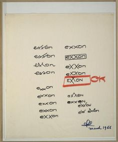 Shown above are Loewy's sketches that led to the creation of the Exxon logo with its signature interlinked Xs.