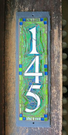 Custom Vertical House Number Plaque in Blue and Lime Green by Nutmeg Designs. Glass and gold smalti on slate, 4.5 x 15 inches.