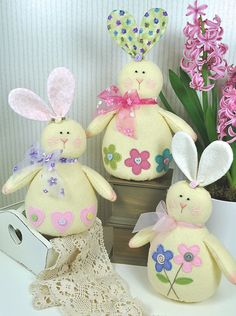 Honey Bunnies Felt Pattern Easter van RaggyDollsSupplies op Etsy