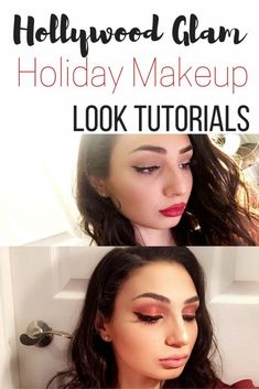 Hollywood glam Christmas makeup looks tutorial. Great beauty and fashion style for the holidays. Party makeup ideas for your eyes.