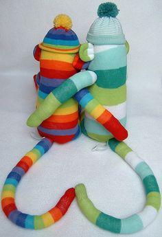 sock monkey love heart tails! by sunsetgirl creations, via Flickr