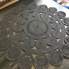 Outdoor Rugs, Outdoor Spaces, Black And Grey Rugs, Circle Rug, Roof Terraces, Crossed Fingers, Round Rugs, Rug Making, Hand Weaving
