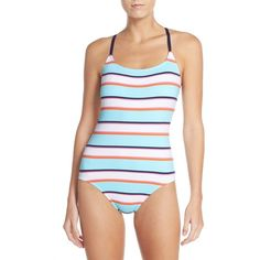 Women's Tommy Bahama Stripe One-Piece Swimsuit ($148) ❤ liked on Polyvore featuring swimwear, one-piece swimsuits, blue green multi, 1 piece bathing suits, one piece swimsuit, striped one piece swimsuit, 1 piece swimsuit and green swimsuit