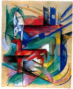 """Franz Marc - """"Paysage avec animaux"""" (1913) Gouache et aquarelle sur papier (45 x 37)."""