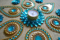 Kundan Rangoli Indian Rangoli Decor Table Centerpiece