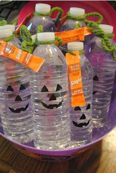 Water Bottle Halloween...can't be any easier and is very cute! Good idea for kids school treat.