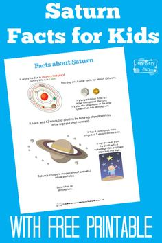 Fun Saturn Facts for Kids - Itsy Bitsy Fun Planets Activities, Solar System Activities, Solar System Projects, Space Activities, Learning Activities, Science Fair Projects, Science Lessons, Projects For Kids, Life Science