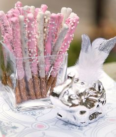 Little Elephant Baby Shower Chocolate- Coated Pretzel Sticks. I prefer pink or pink and gold. I prefer pink or pink and gold. White Baby Showers, Grey Baby Shower, Baby Girl Shower Themes, Baby Shower Princess, Baby Shower Decorations, Shower Centerpieces, Peanut Baby Shower, Baby Shower Treats, Elephant Party