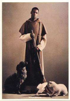 Saint Martin de Porres Postcard Monk Dog Cat Bird Pierre et Gilles Photographers