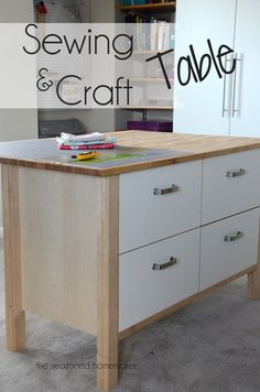 After a year of living with a new sewing room I finally found THE PERFECT Sewing and Craft Table. - The Seasoned Homemaker www.sesonedhomemaker.com