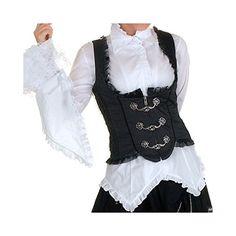 Victorian Inspired Black Tank Waistcoat. (Front view)  Crazyinlove.