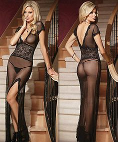 New Women Deep Sexy Lingerie Long Dress Pajamas Ladies Babydoll Clubwear 2Colors - EXCLUSIVE DEAL! BUY NOW ONLY $4.29