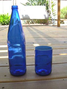Make drinking glasses from wine bottles using a glass cutting tool