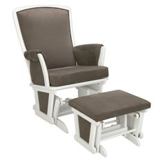 Delta Bentley Upholstered Glider and Ottoman Set - White