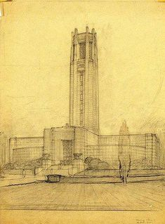 Architecture Drawings, Historical Architecture, Art And Architecture, Unusual Buildings, Art Deco Buildings, Building Drawing, Big Building, Urban Design Plan, Architectural Features