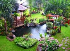 Gambar Taman Rumah Indah dengan Desain Kolam yang cantik