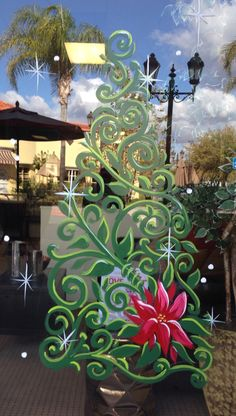 Swirly tree with pointsettia, Holiday window painting, Christmas Tree Painting, Christmas Art, Christmas Windows, Painted Window Panes, Window Paint, Painting On Glass Windows, Window Mural, Christmas Window Decorations, Window Graphics