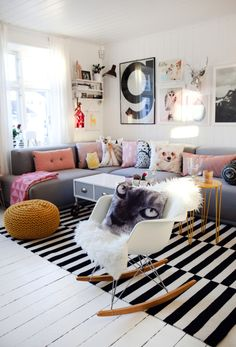 A Bright Norwegian Nest Sure To Put a Smile On Your Face - lounge like this but less pink & doggy!