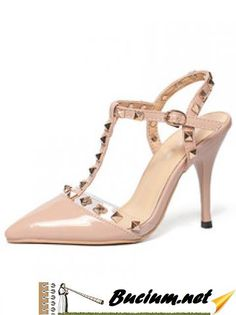 Nude Pierced T-strap Studded High Heel Sandals