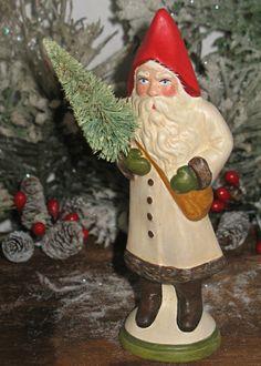 Primitive Chalkware German Santa from an antique chocolate mold Primitive Santa, Primitive Crafts, Primitive Christmas, Rustic Christmas, Handmade Christmas, White Christmas, Christmas Holidays, Christmas Crafts, Christmas Ornaments