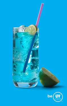 UV Vodka Recipe: Blue Bombsicle ~ 1 part UV Blue 3 parts lemonade* Serve over ice in a highball glass. *Substitute sugar-free lemonade for a low-carb drink! Blue Drinks, Mixed Drinks, Refreshing Drinks, Yummy Drinks, Uv Vodka Recipes, Uv Blue, Vodka Lemonade, Party Drinks Alcohol, Low Carb Drinks