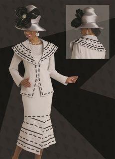 "Donna Vinci 11451 Ribbon & Rhinestone Embellished  Colors: Silver/Black Skirt Length: 32""  Jacket Length: 27"" Catalog Sizes: 8-20"