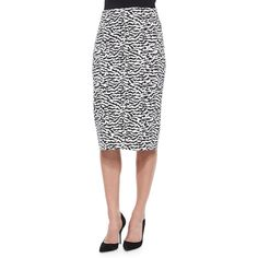 Veronica Beard Animal-Print Pique Pencil Skirt ($177) ❤ liked on Polyvore featuring skirts, tiger print, veronica beard, pencil skirt, animal print skirt, white pencil skirt and knee length pencil skirt