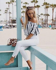 Get beach ready in white denim, nautical stripes and lace-up sandals via @josieldn's warm weather attire | Shop her look with www.LIKEtoKNOW.it | http://liketk.it/2oxeh #liketkit