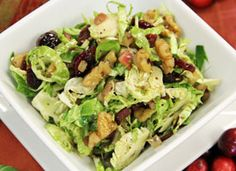 Recipe: Warm Shaved Brussels Sprouts Salad with Apples and Cranberries