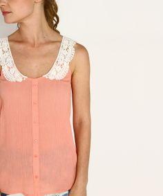 Peach & White Crochet Button-Up Racerback Tank