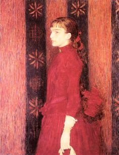 theo van rysselberghe I887   portrait of a young girl in red