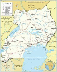 Map of Uganda and Ugandan Political Map Africa Pinterest