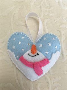 Felt crafts, felt ornament, snowman, snowmen, heart, winter, made by Janis