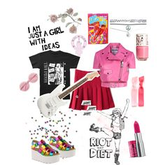 RIOT GRRRL! by djenne99 on Polyvore featuring Moschino, Wet Seal, Wildfox, The Body Shop and H&M