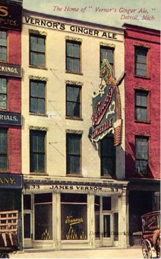 Postcard entitled, The Home of 'Vernor's Ginger Ale,' Detroit, Mich. The view shows the Vernor's Ginger Ale storefront which was located in a 4-story brick building at 33 Woodward Avenue. The sign has eight hundred and sixteen lamps constantly moving, filling the glass with the finest drink ever. They sell the Extract; Anyone can make the ale. c. 1900 (Detroit Hist. Soc.)