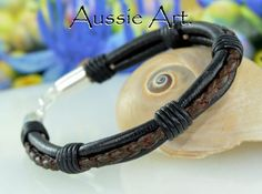 1B-018 Finely Made Sterling Silver & Genuine Leather Wristband Men Bracelet.