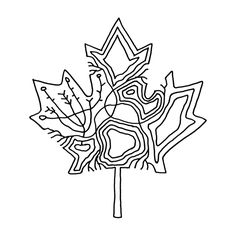 Canadian Inner Maple Leaf Colouring Page with Abstract Drawing in Mind Form by Donald Lee Leaf Coloring Page, Colouring Pages, Coloring Books, Abstract Drawings, Abstract Lines, Maple Leaf Tattoos, Canadian Maple Leaf, Line Drawing, Canada