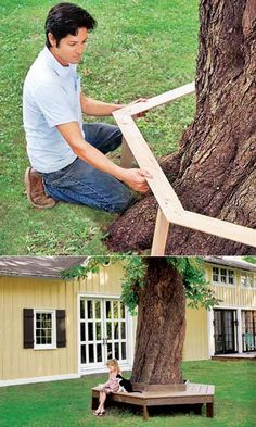 Tree bench for net treasure town. Backyard Trees, Backyard Retreat, Backyard Patio, Tree Seat, Tree Bench, Back Gardens, Outdoor Gardens, Bench Around Trees, Front Yard Landscaping