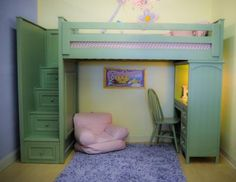 Kids Loft Bed With Desk And Storage Woodworking Projects