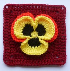 Pansy in a square, all these flowers would make a great afghan